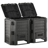 vidaXL Vrtni komposter crni 800 L