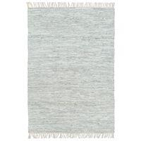 vidaXL Ručno tkani tepih Chindi od kože 160 x 230 cm svjetlosivi