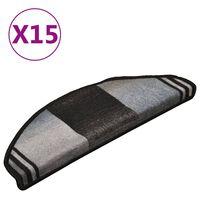 vidaXL Samoljepljivi otirači za stepenice 15 kom crno-sivi 65x21x4 cm
