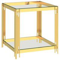 vidaXL Stolić za kavu zlatni 55 x 55 x 55 cm nehrđajući čelik i staklo