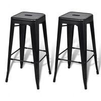 vidaXL Barski stolci 2 kom crni čelični
