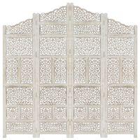 vidaXL Sobna pregrada s 4 panela bijela 160x165 cm masivno drvo manga