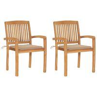 vidaXL Vrtne stolice s bež jastucima 2 kom od masivne tikovine