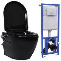 vidaXL Zidna WC školjka s ugradbenim vodokotlićem keramička crna