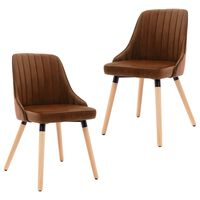 vidaXL Blagovaonske stolice 2 kom smeđe baršunaste