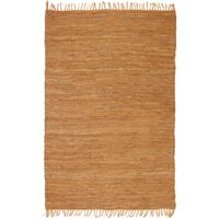 vidaXL Ručno tkani tepih Chindi od kože 120 x 170 cm žućkastosmeđi