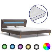 vidaXL Krevet od tkanine s madracem LED smeđe-sivi 180 x 200 cm