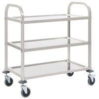 vidaXL Kuhinjska kolica s 3 razine od nehrđajućeg čelika 107x55x90 cm