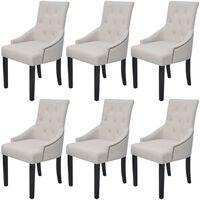 vidaXL Blagovaonske stolice od tkanine 6 kom krem-sive