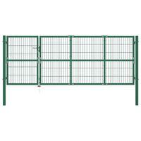 vidaXL Vrtna vrata za ogradu sa stupovima 350 x 120 cm čelična zelena