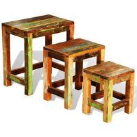 vidaXL 3-dijelni set uklapajućih stolića starinski obnovljeno drvo