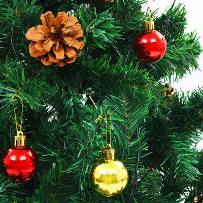 vidaXL Umjetno božićno drvce s kuglicama i LED žaruljicama 150 cm zeleno
