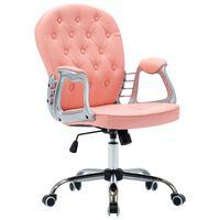 vidaXL Okretna uredska stolica od umjetne kože ružičasta