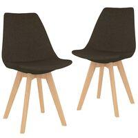 vidaXL Blagovaonske stolice od tkanine 2 kom tamnosmeđe