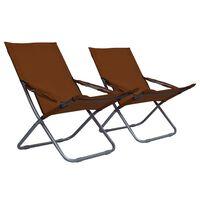 vidaXL Sklopive stolice za plažu od tkanine 2 kom smeđe