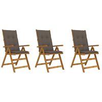 vidaXL Sklopive vrtne stolice s jastucima 3 kom od bagremovog drva