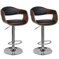 vidaXL Barske stolice 2 kom od zaobljenog drva i umjetne kože