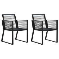 vidaXL Vrtne stolice 4 kom od poliratana i konopa crne