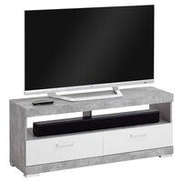 FMD stalak za TV/Hi-Fi siva boja betona i sjajna bijela