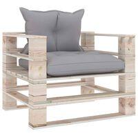vidaXL Vrtna sofa od paleta od borovine sa sivim jastucima