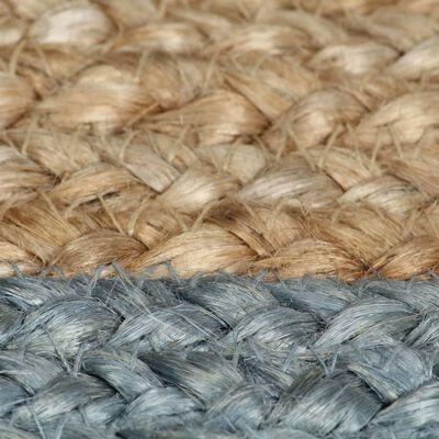 vidaXL Ručno rađeni tepih od jute s maslinastozelenim rubom 120 cm