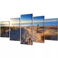 Zidne slike na platnu s printom pješčane plaže 200 x 100 cm