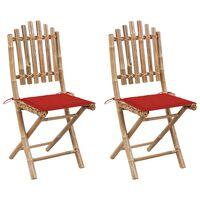 vidaXL Folding Garden Chairs 2 pcs with Cushions Bamboo (41498+314014)