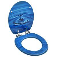 vidaXL Toaletna daska s mekim zatvaranjem MDF plava s uzorkom kapljica