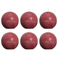 Bolsius rustične okrugle svijeće 6 kom 80 mm crvena boja vina
