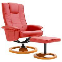 vidaXL Okretna TV fotelja s osloncem za noge od umjetne kože crvena
