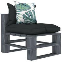 vidaXL Vrtna središnja sofa od paleta s antracit i cvjetnim jastucima