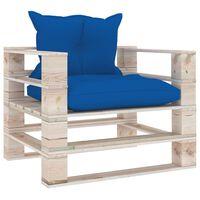 vidaXL Vrtna sofa od paleta od borovine s kraljevski plavim jastucima
