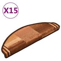 vidaXL Samoljepljivi otirači za stepenice 15 kom smeđi 65 x 21 x 4 cm