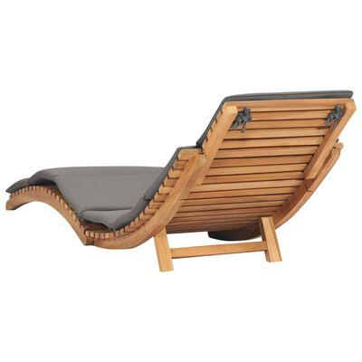 vidaXL Sklopiva ležaljka za sunčanje od masivne tikovine s jastukom