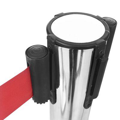 vidaXL Pregradni stupovi s trakom od nehrđajućeg čelika srebrni
