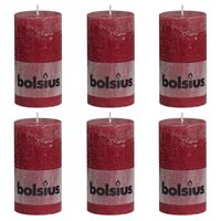 Bolsius rustične debele svijeće 6 kom 130 x 68 mm crvena boja vina