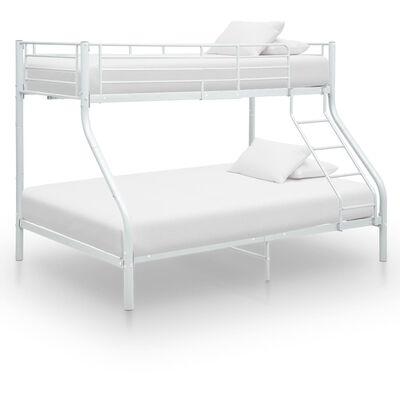 vidaXL Okvir za krevet na kat bijeli metalni 140 x 200 / 90 x 200 cm