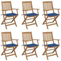 vidaXL Sklopive vrtne stolice s jastucima 6 kom od bagremovog drva