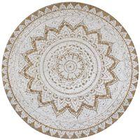 vidaXL Ukrasni pleteni tepih od jute s uzorkom 90 cm okrugli