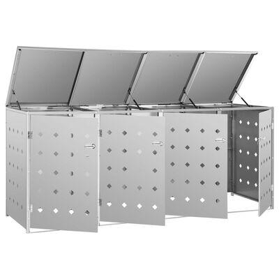 vidaXL Spremište za četiri kante za smeće 240 L od nehrđajućeg čelika