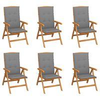 vidaXL Nagibne vrtne stolice s jastucima 6 kom od masivne tikovine