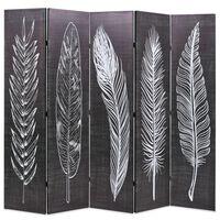 vidaXL Sklopiva sobna pregrada s uzorkom pera 200 x 170 cm crno-bijela