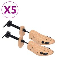 vidaXL Napinjači za cipele 5 pari veličina 36 - 40 od masivne borovine