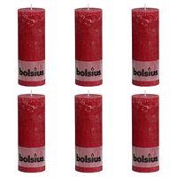 Bolsius rustične debele svijeće 6 kom 190 x 68 mm crvena boja vina