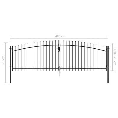 vidaXL Dvostruka vrata za ogradu s kopljima na vrhu 400 x 175 cm