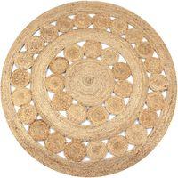vidaXL Ukrasni pleteni tepih od jute 120 cm okrugli
