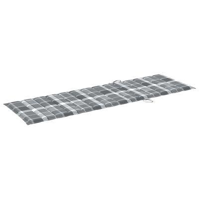 vidaXL Jastuk za ležaljku sivi karirani 200 x 60 x 4 cm od tkanine