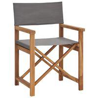 vidaXL Redateljska stolica od masivne tikovine siva