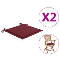vidaXL Jastuci za vrtne stolice 2 kom boja vina 40x40x4 cm od tkanine