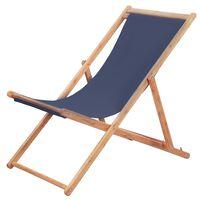 vidaXL Sklopiva ležaljka za plažu od tkanine s drvenim okvirom plava